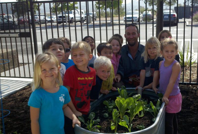 Bill Schnetz veggie planting day in Encinitas school
